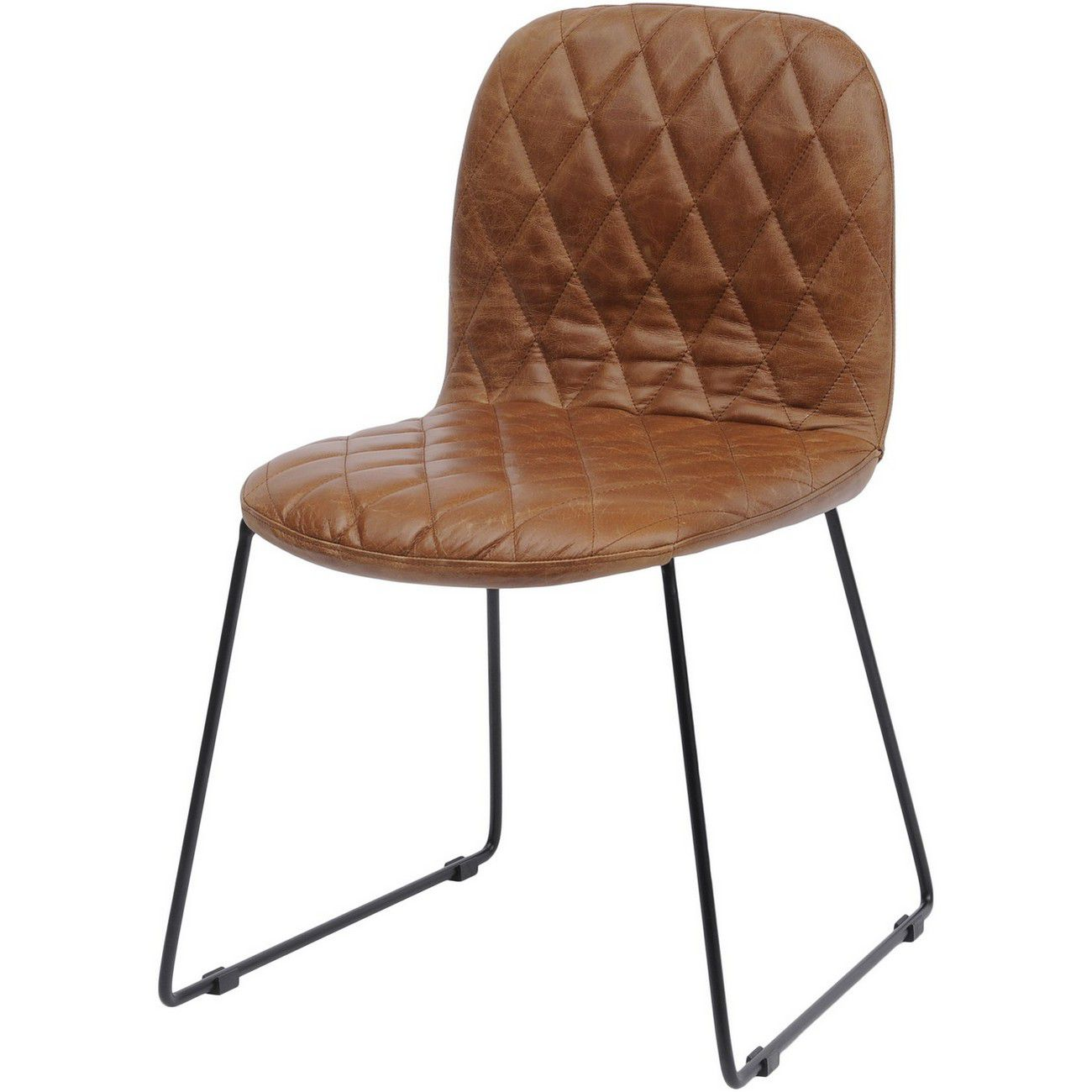 Clifton Tan Leather Quilted Dining Chair thumbnail