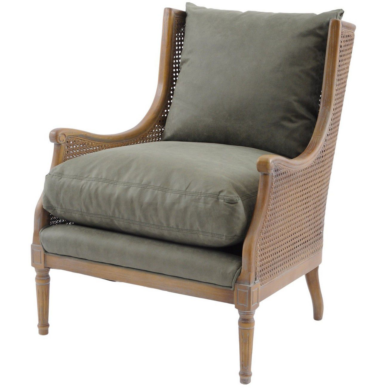 Taverny Green Cotton Occasional Chair thumbnail