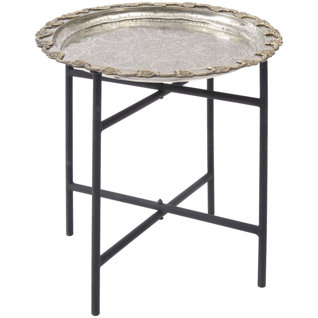 Antique Moroccan Silver Tray Table thumbnail