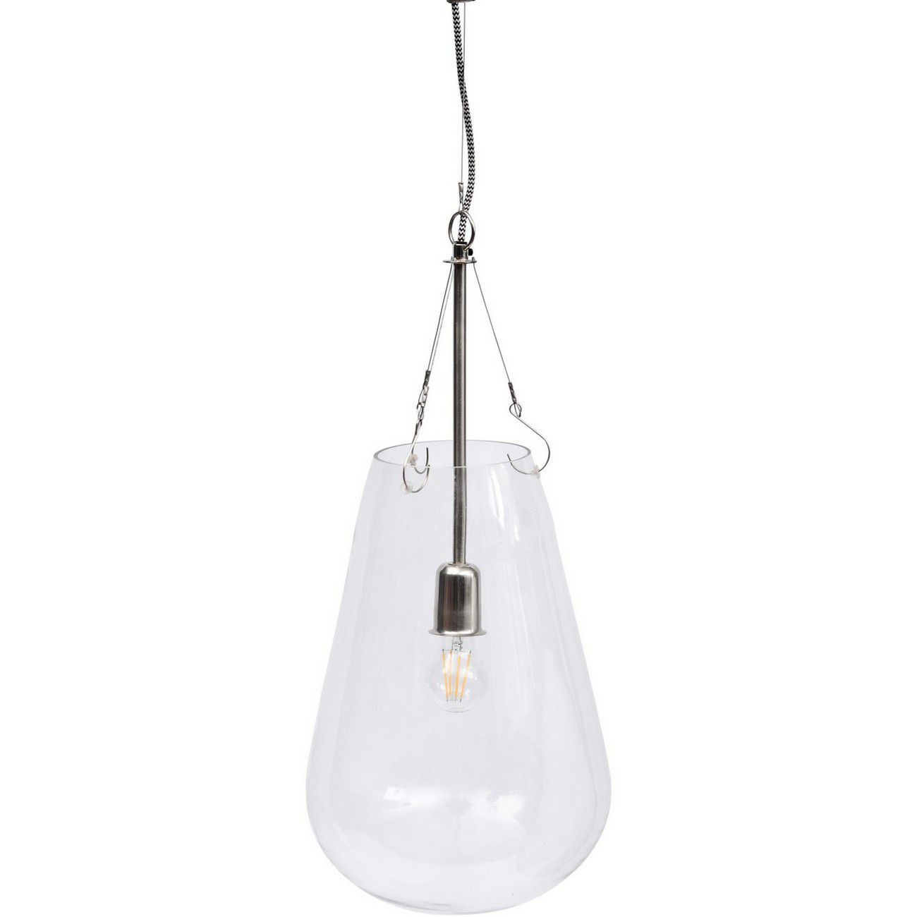 Clear And Nickel Domed Pendant E27 40W thumbnail