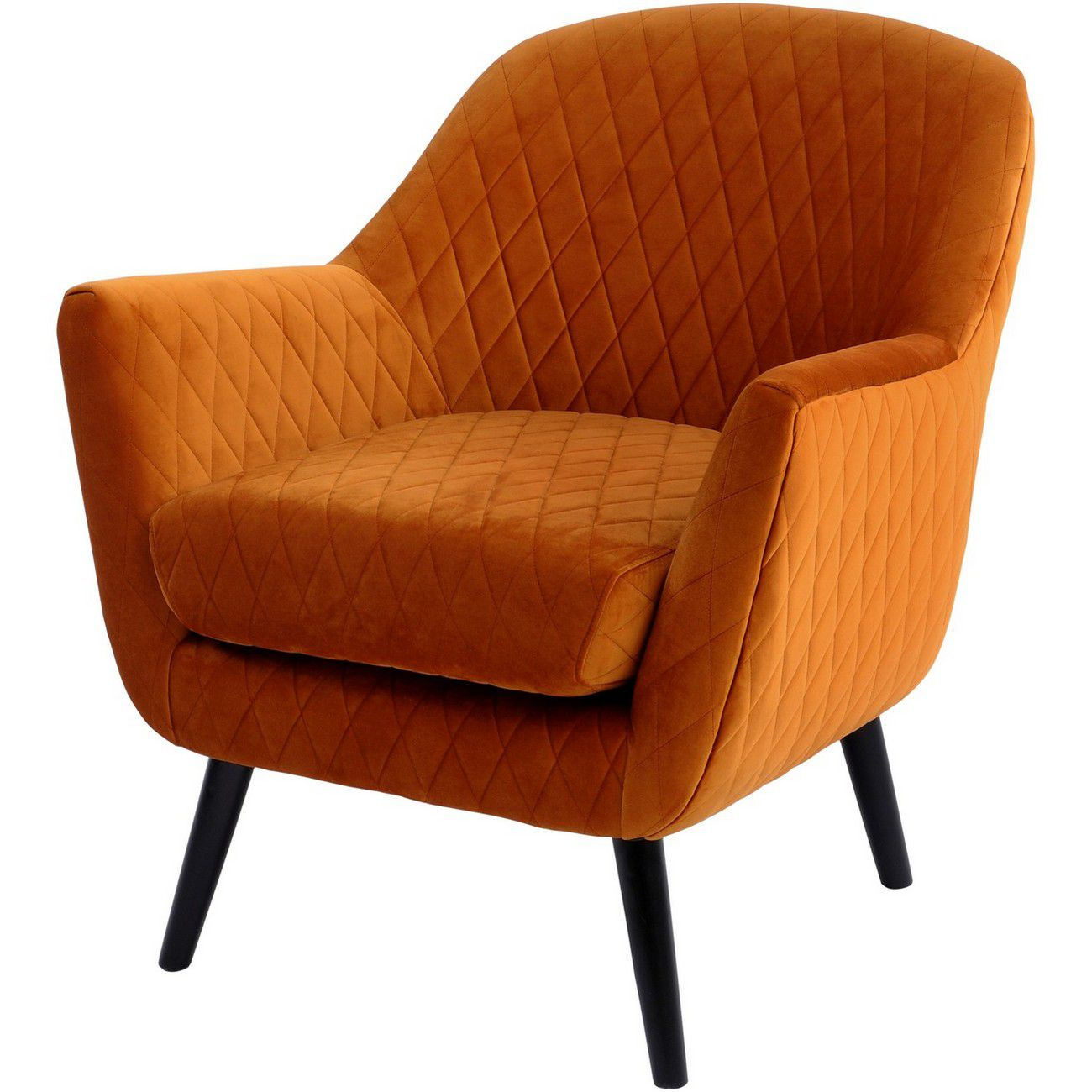 Ellison Orange Velvet Quilted Occasional Chair thumbnail