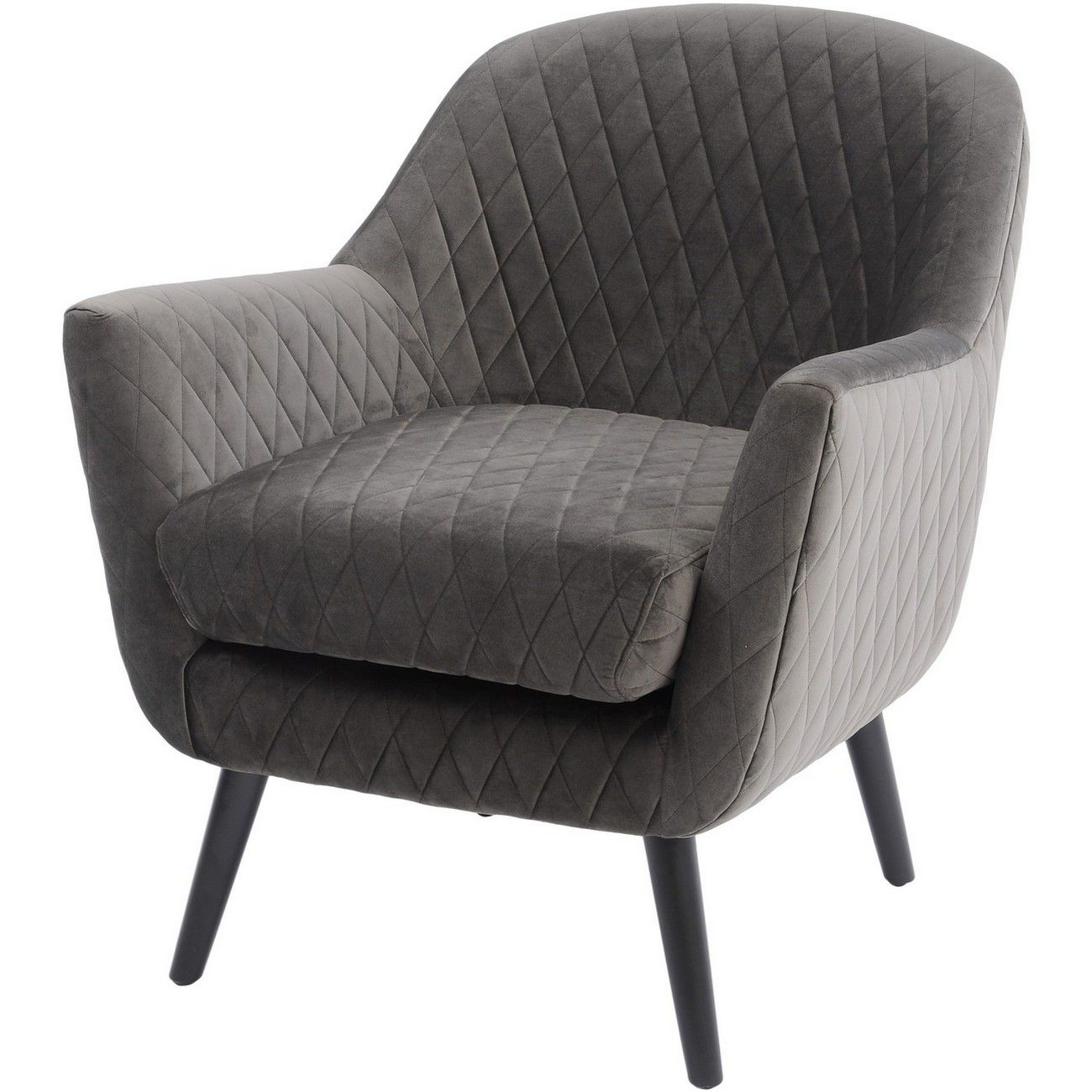Ellison Grey Velvet Quilted Occasional Chair thumbnail