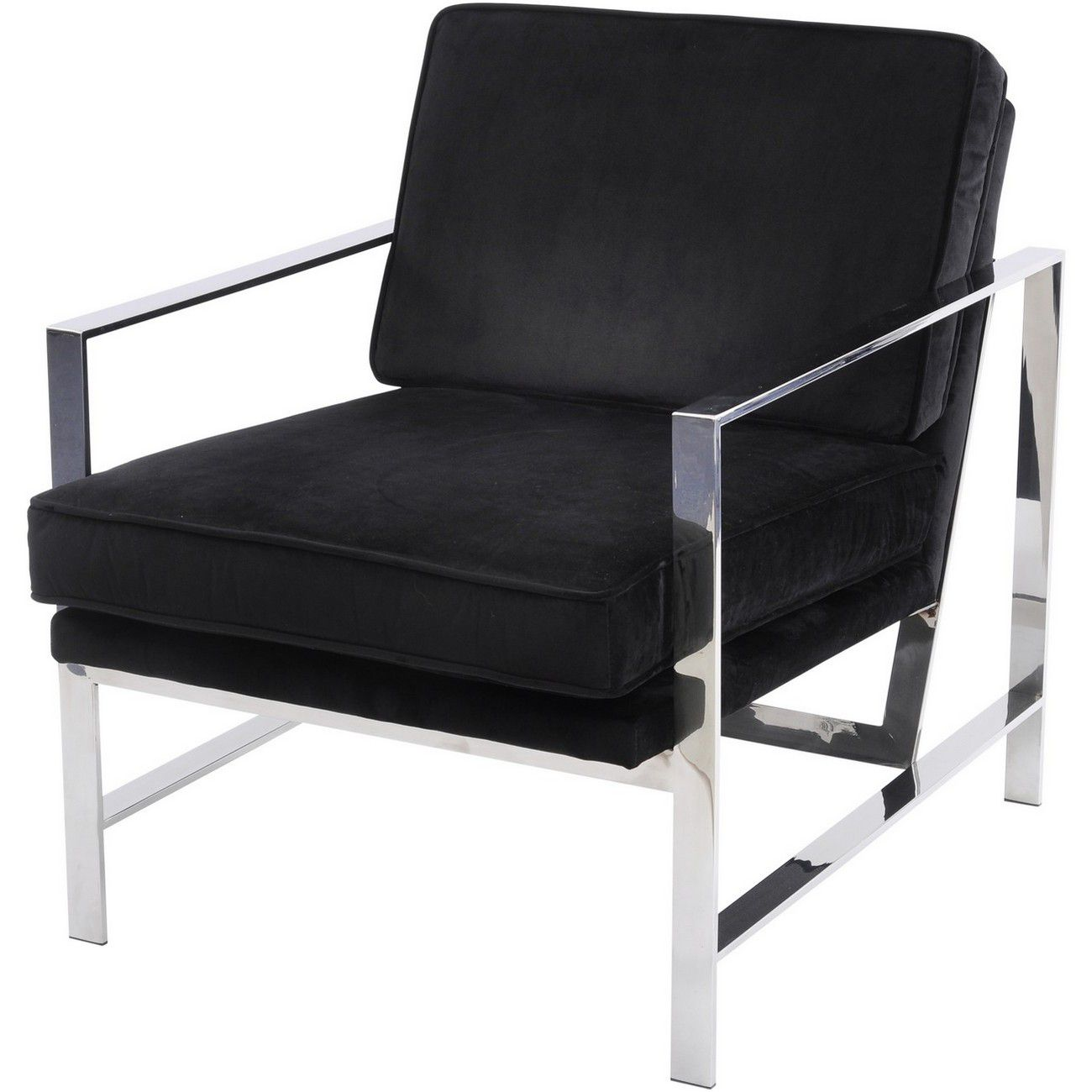 Caverly Black Velvet Chrome Frame Occasional Chair thumbnail
