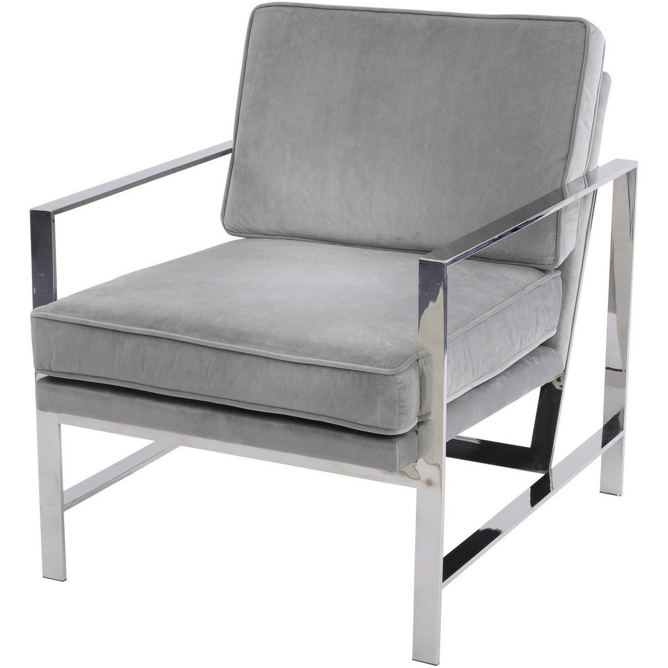Caverly Grey Velvet Chrome Frame Occasional Chair thumbnail