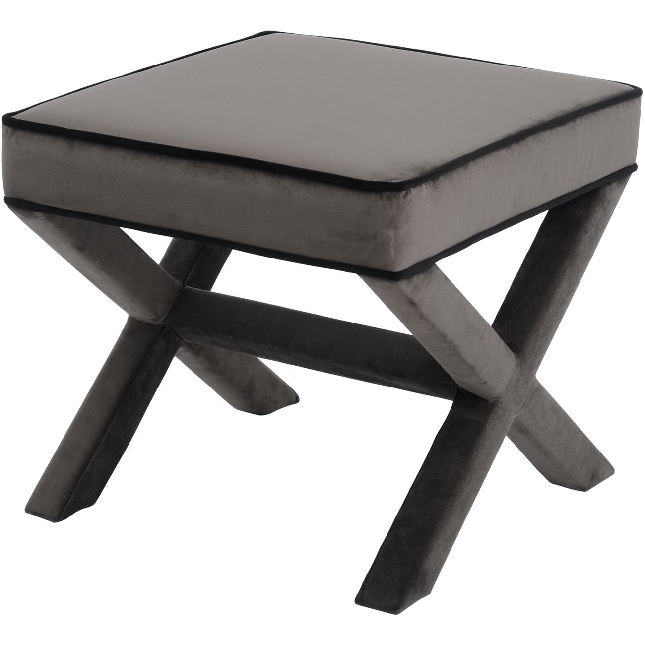 Ellison Grey And Black Cross Frame Stool thumbnail