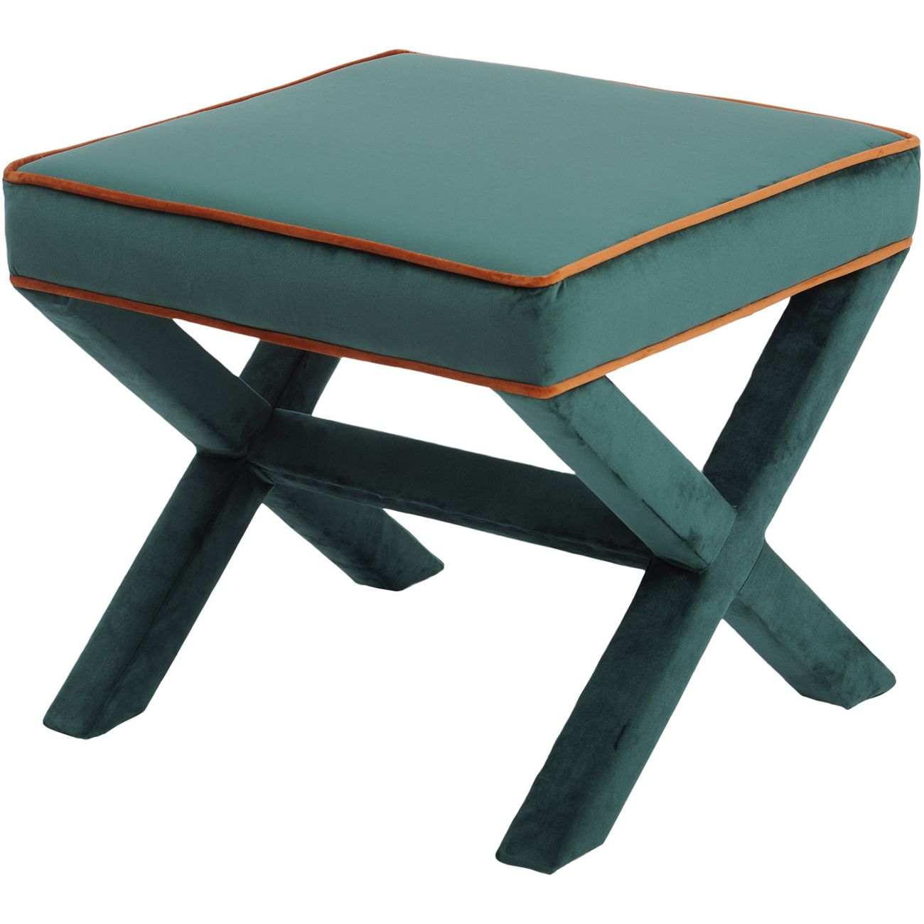 Ellison Green And Orange Cross Frame Stool thumbnail