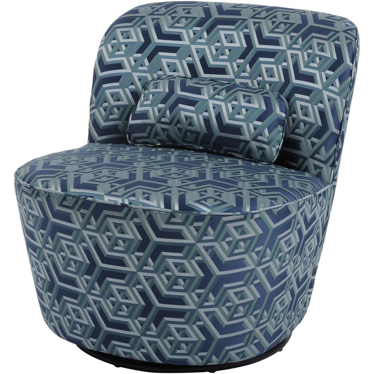 Ellison Blue And Green Geometric Print Swivel Occasional Chair thumbnail