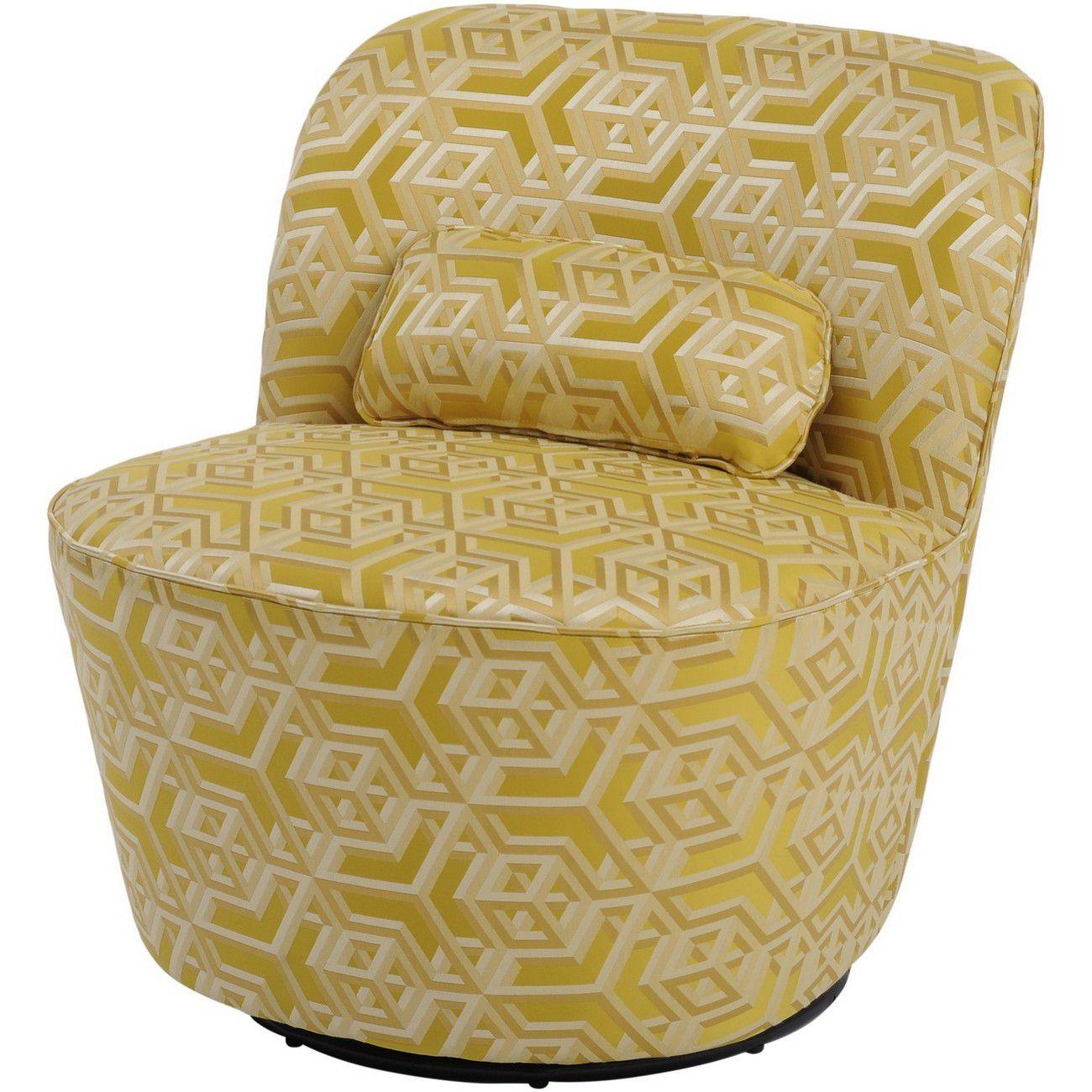 Ellison Yellow Geometric Print Swivel Occasional Chair thumbnail
