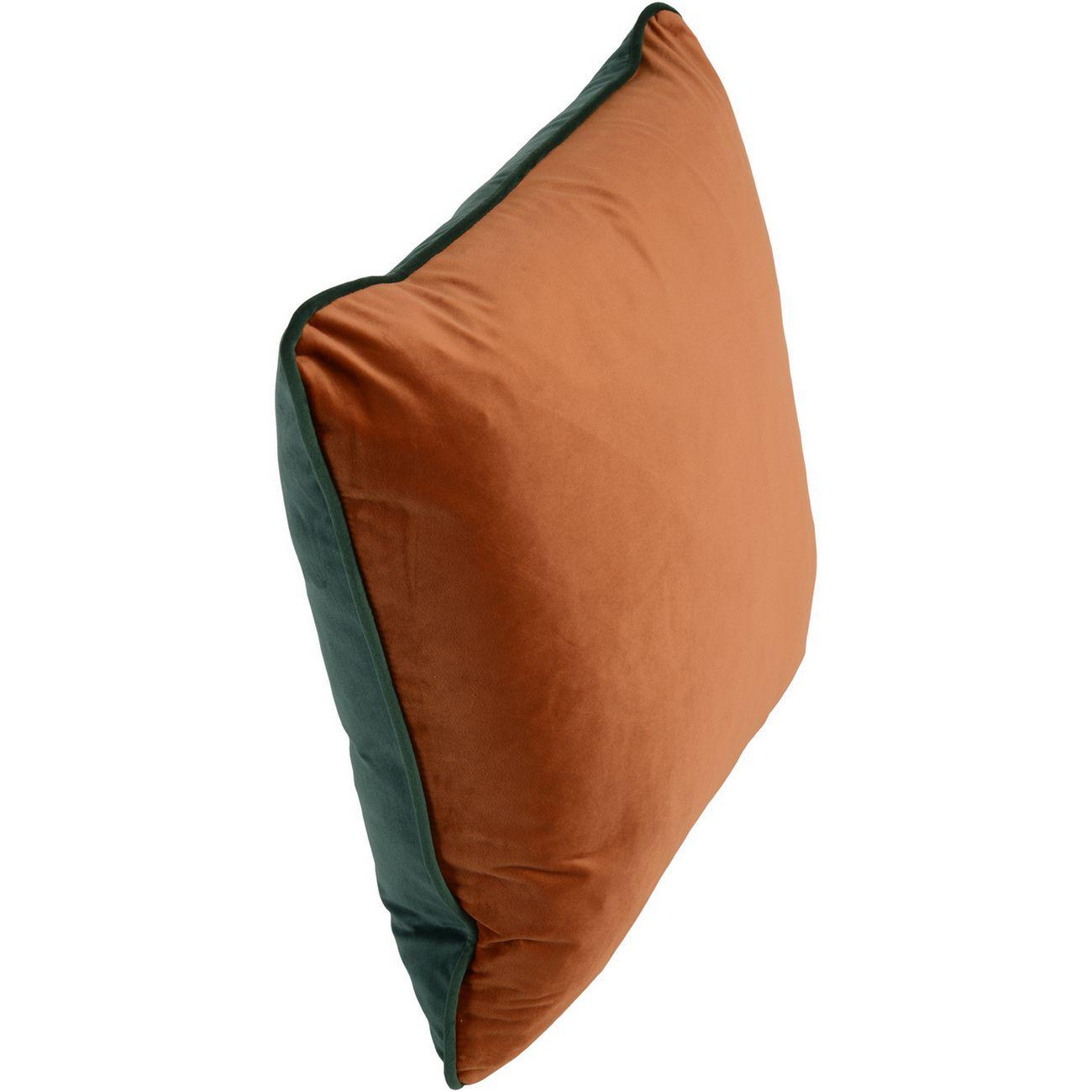 Ellison Double Face Green And Orange Velvet Cushion 50x50cm thumbnail