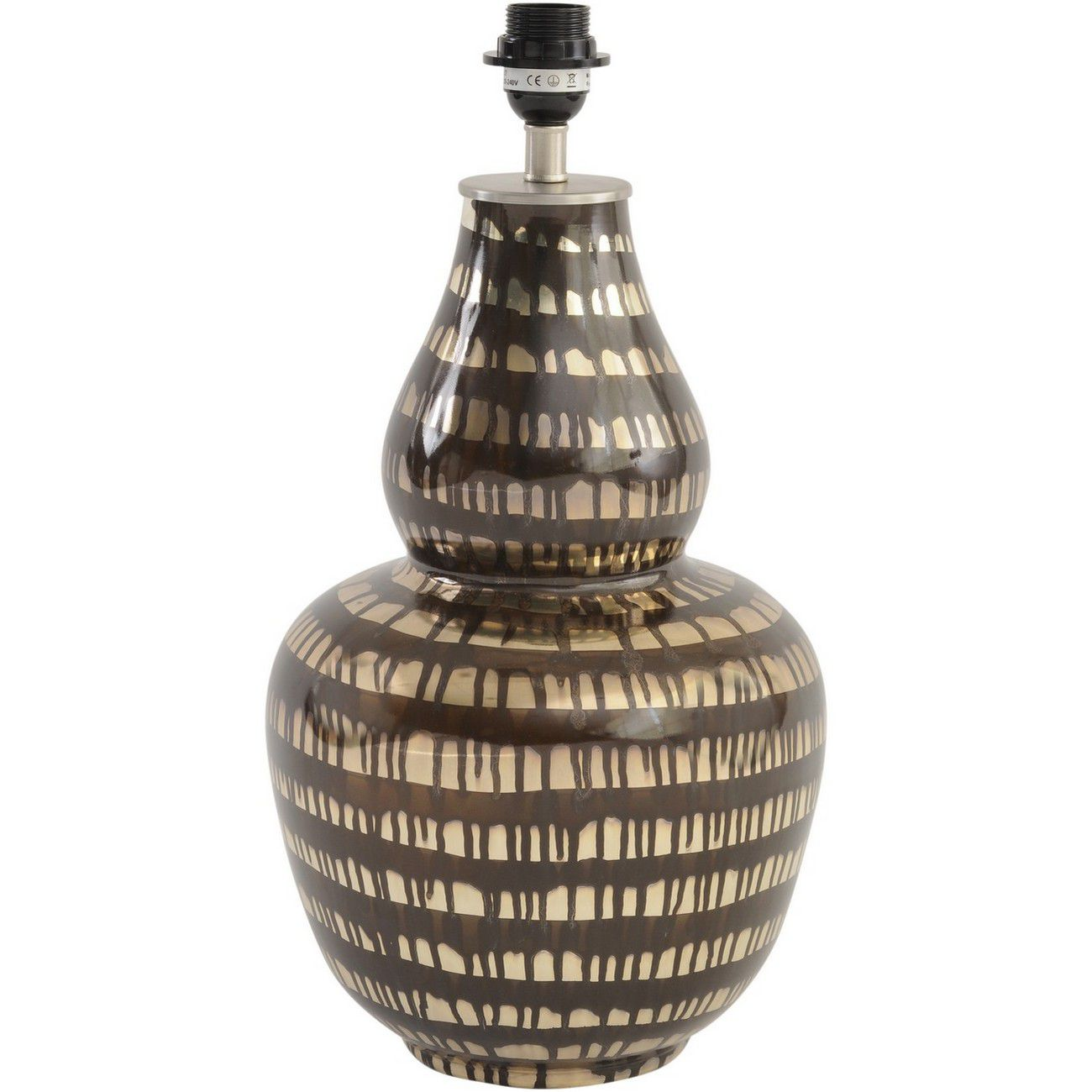 Curved Black Brown Stripe Effect Table Lamp (Base Only) - E27 60W 16