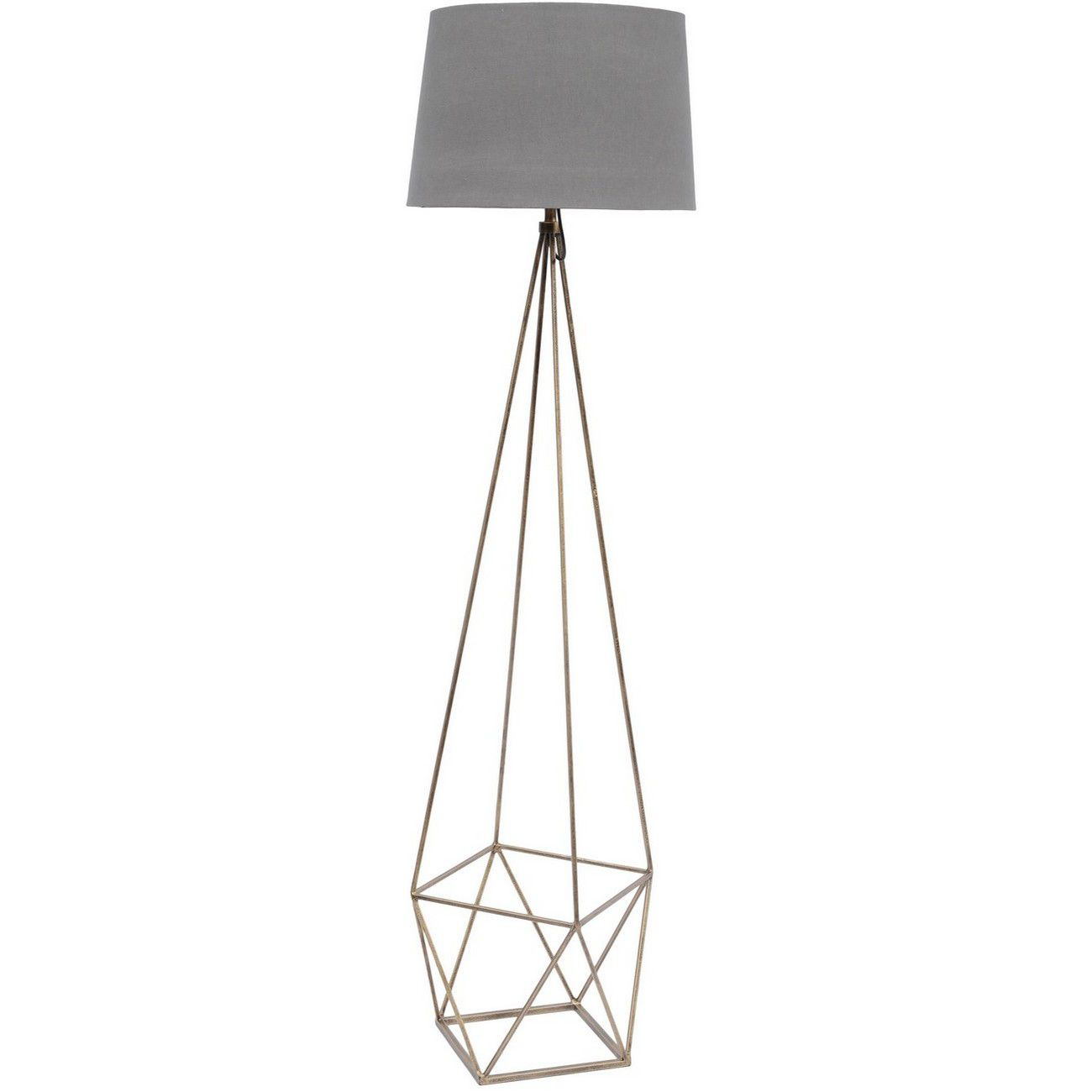 Platonic Floor Lamp With Grey Shade - E27 60W thumbnail