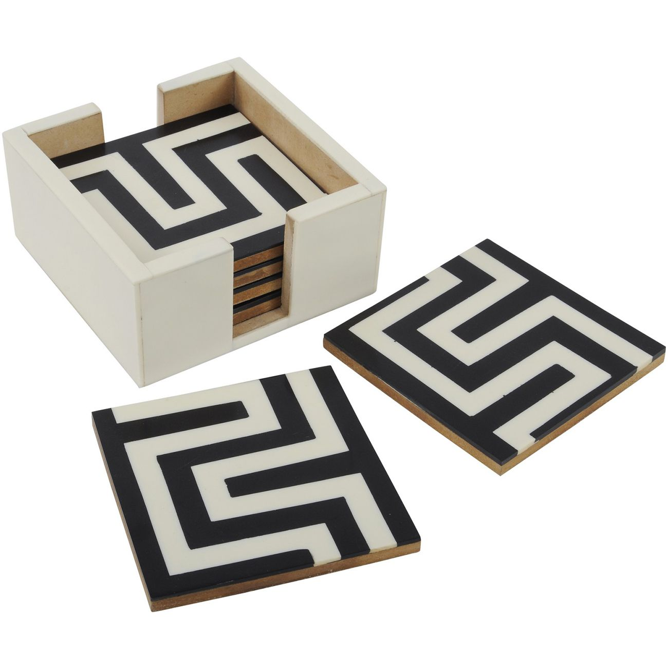 Black And White Set Of 6 Square Coasters thumbnail