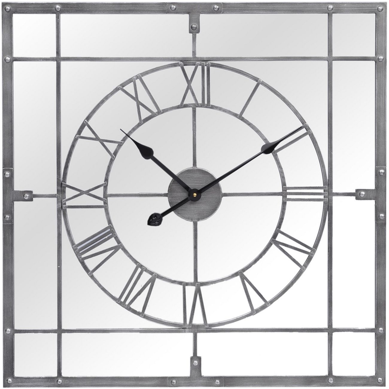Grey Framed Mirrored Square Wall Clock thumbnail