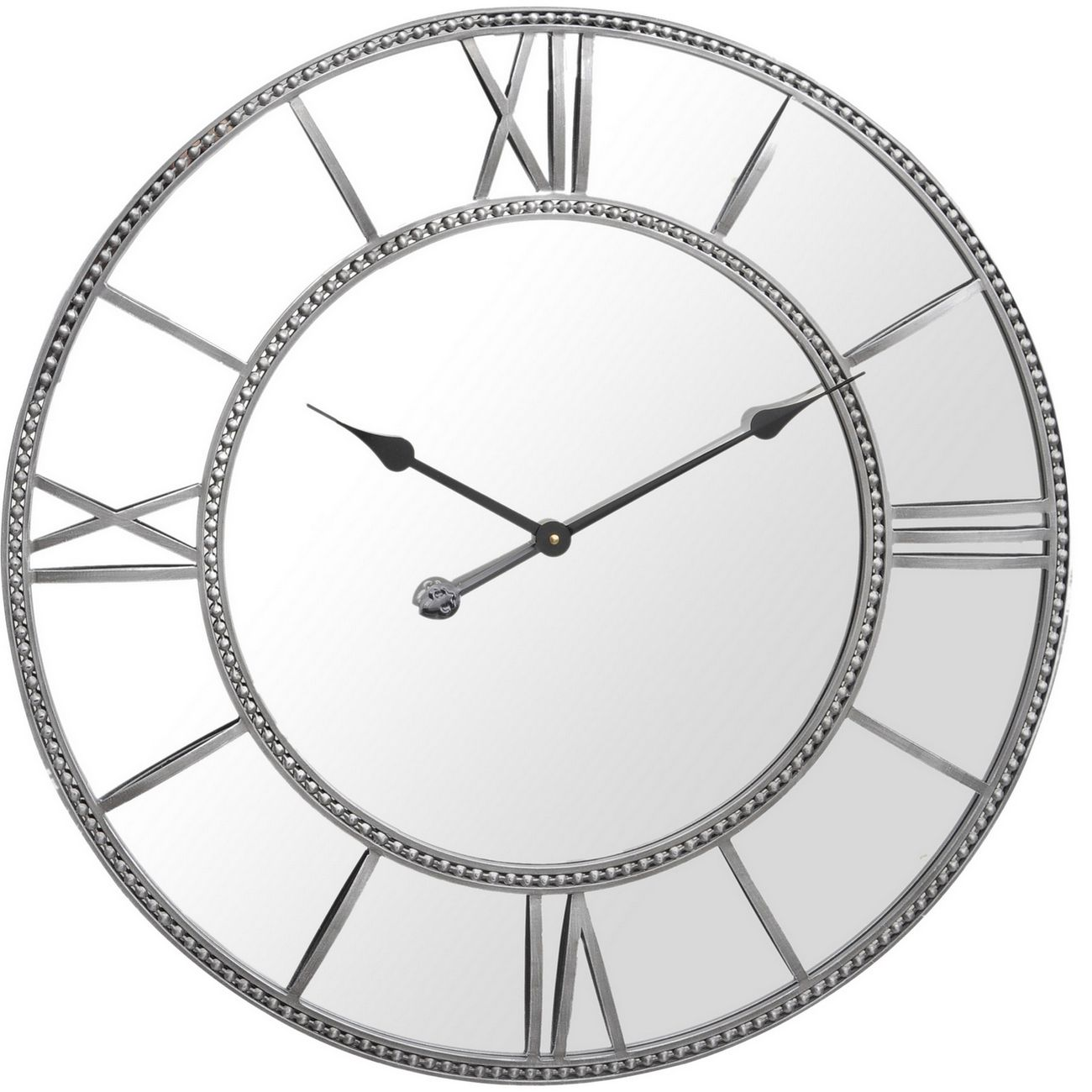 Grey Framed Beaded Mirrored Round  Wall Clock thumbnail