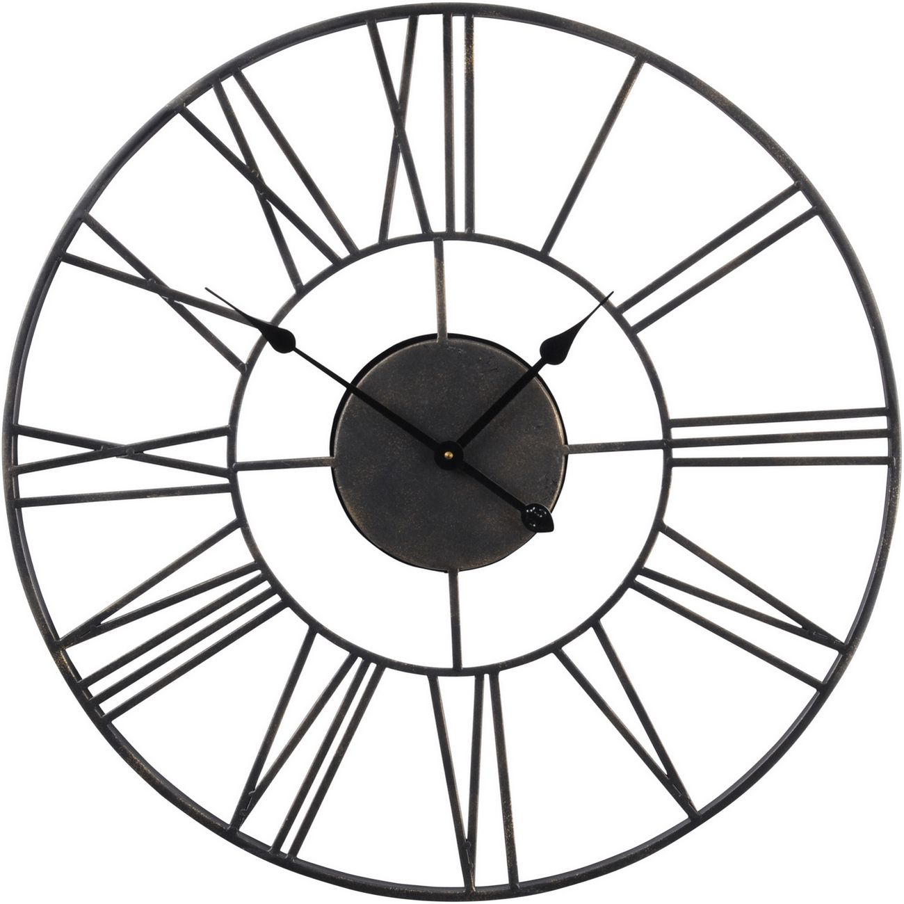 Antique Black Outdoor Skeletal Wall Clock thumbnail