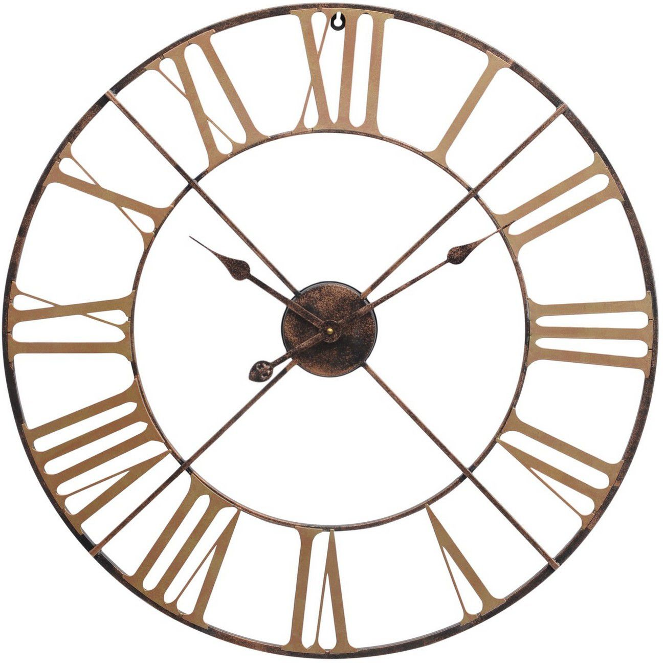 Antique Brass Outdoor Skeletal Wall Clock thumbnail