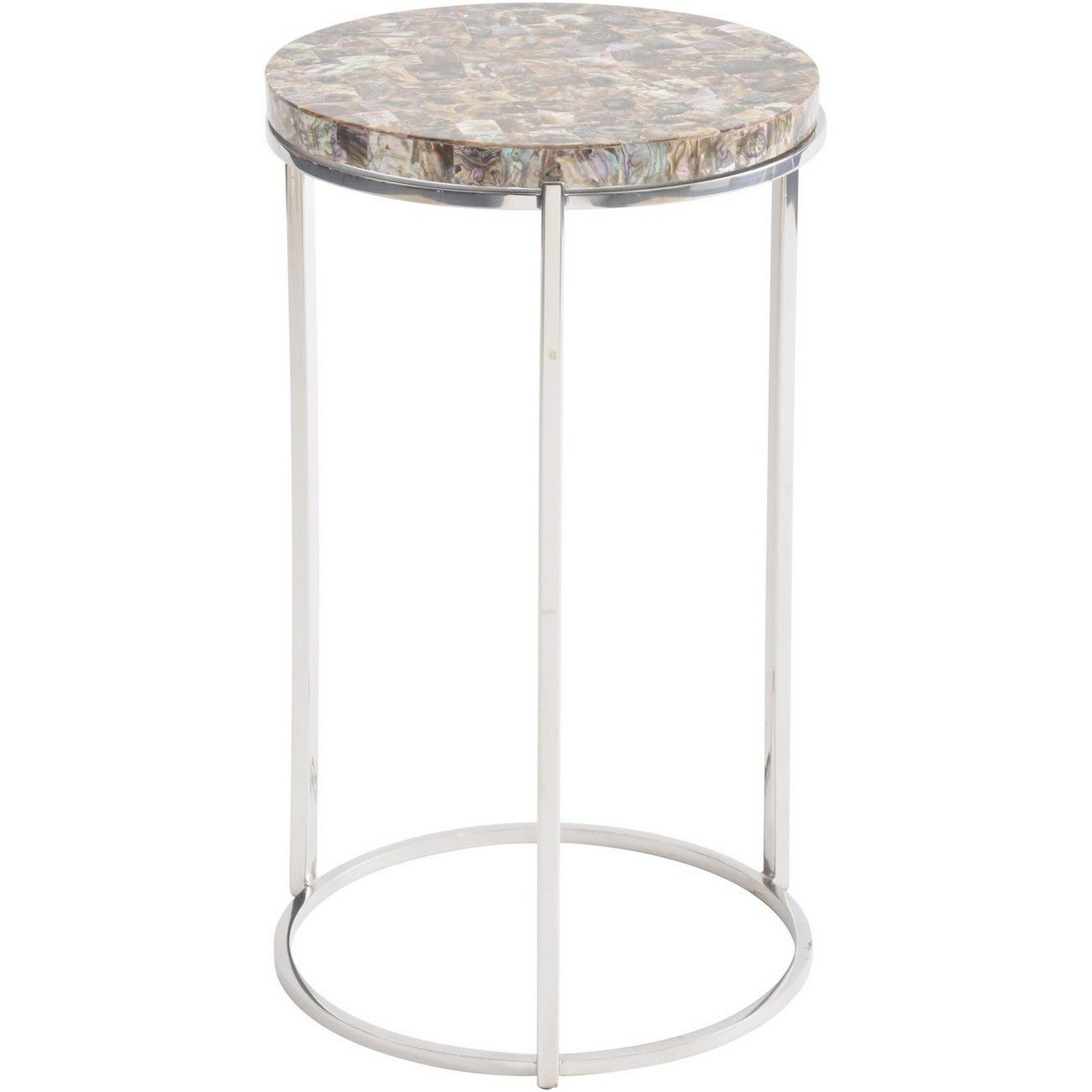 Abalone Round Side Table On Nickel Frame thumbnail