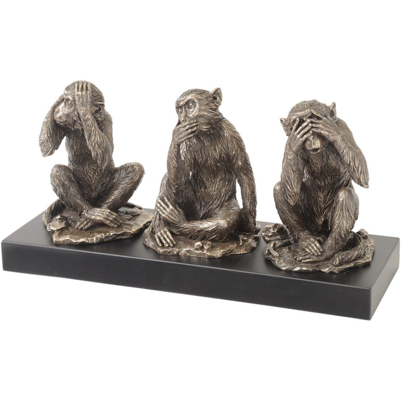 Millbeck Bronze Finish Wise Monkeys Sculpture thumbnail
