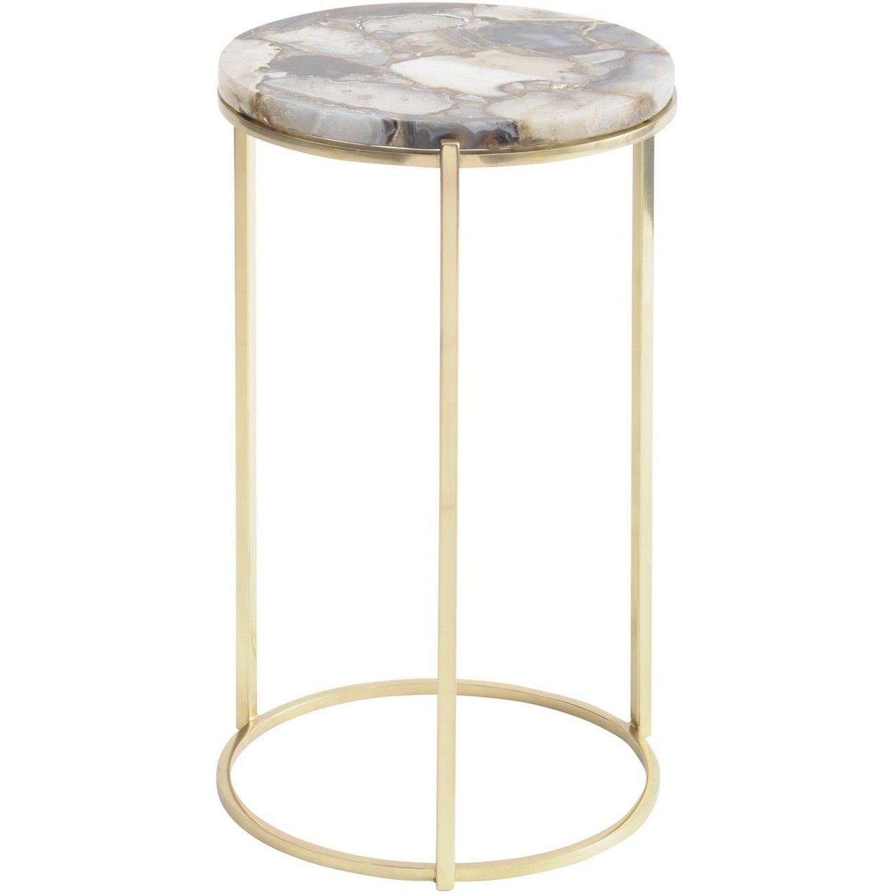 Agate Round Side Table on Brass Frame thumbnail