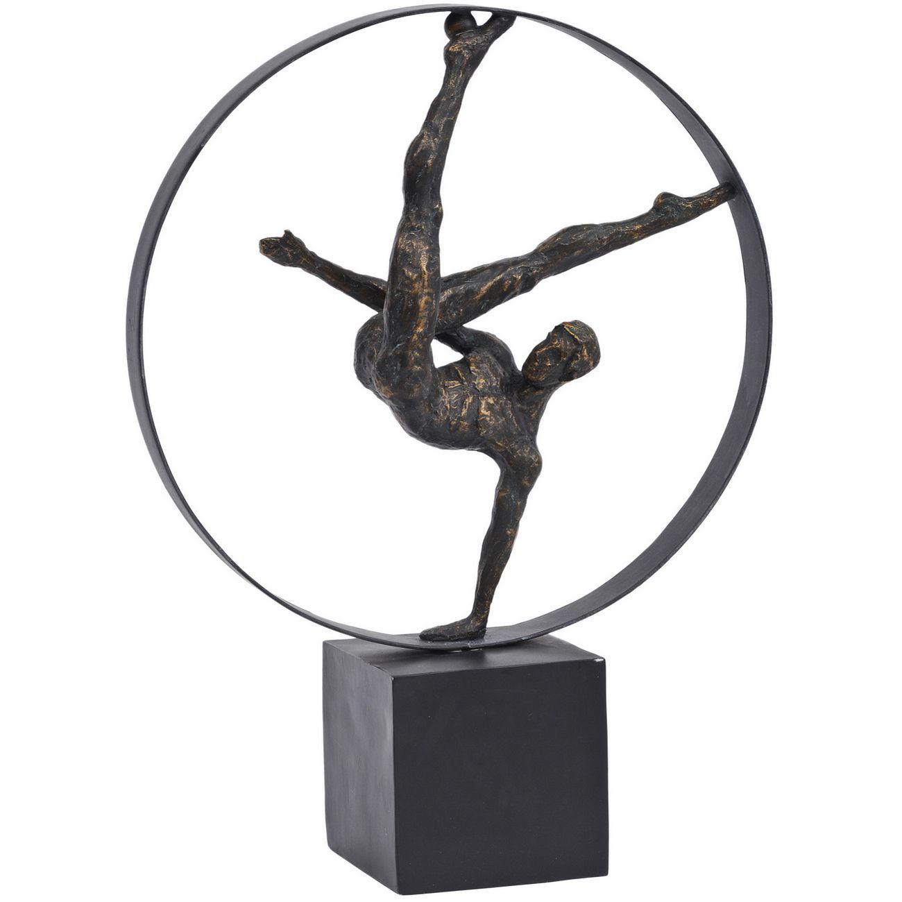 Antique Bronze Male Gymnast In Hoop Sculpture thumbnail