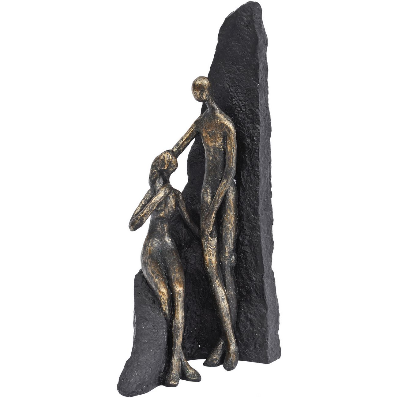 Antique Bronze Couple Rock Sculpture thumbnail