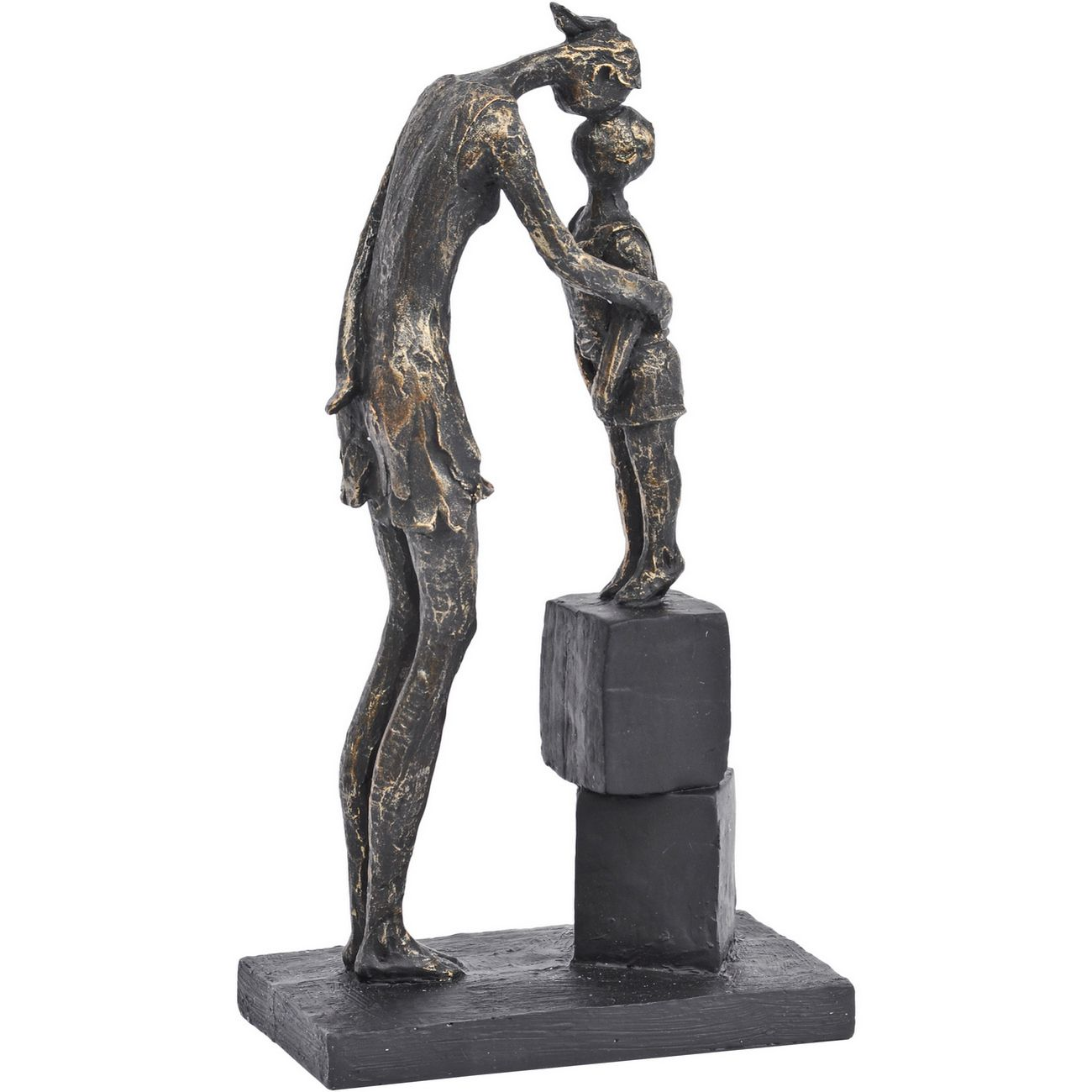 Antique Bronze Mother And Child On Blocks Sculpture thumbnail