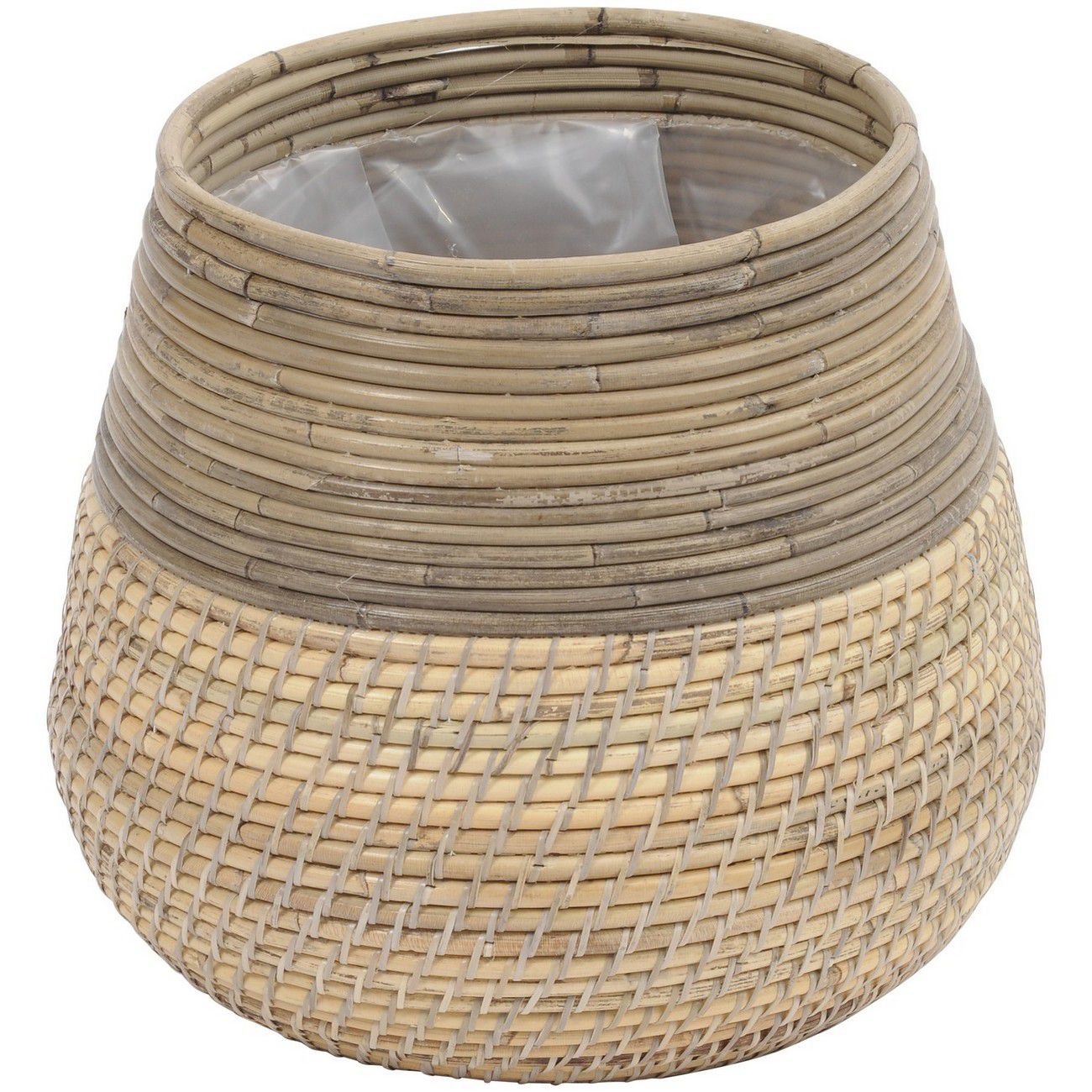 Toba Contrast Stripe Rattan Planter 40x33cm thumbnail