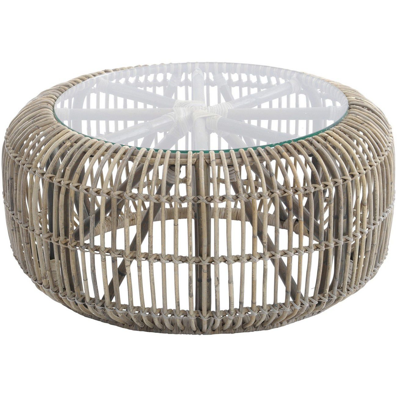 Toba Rattan Coffee Table With Glass Top thumbnail