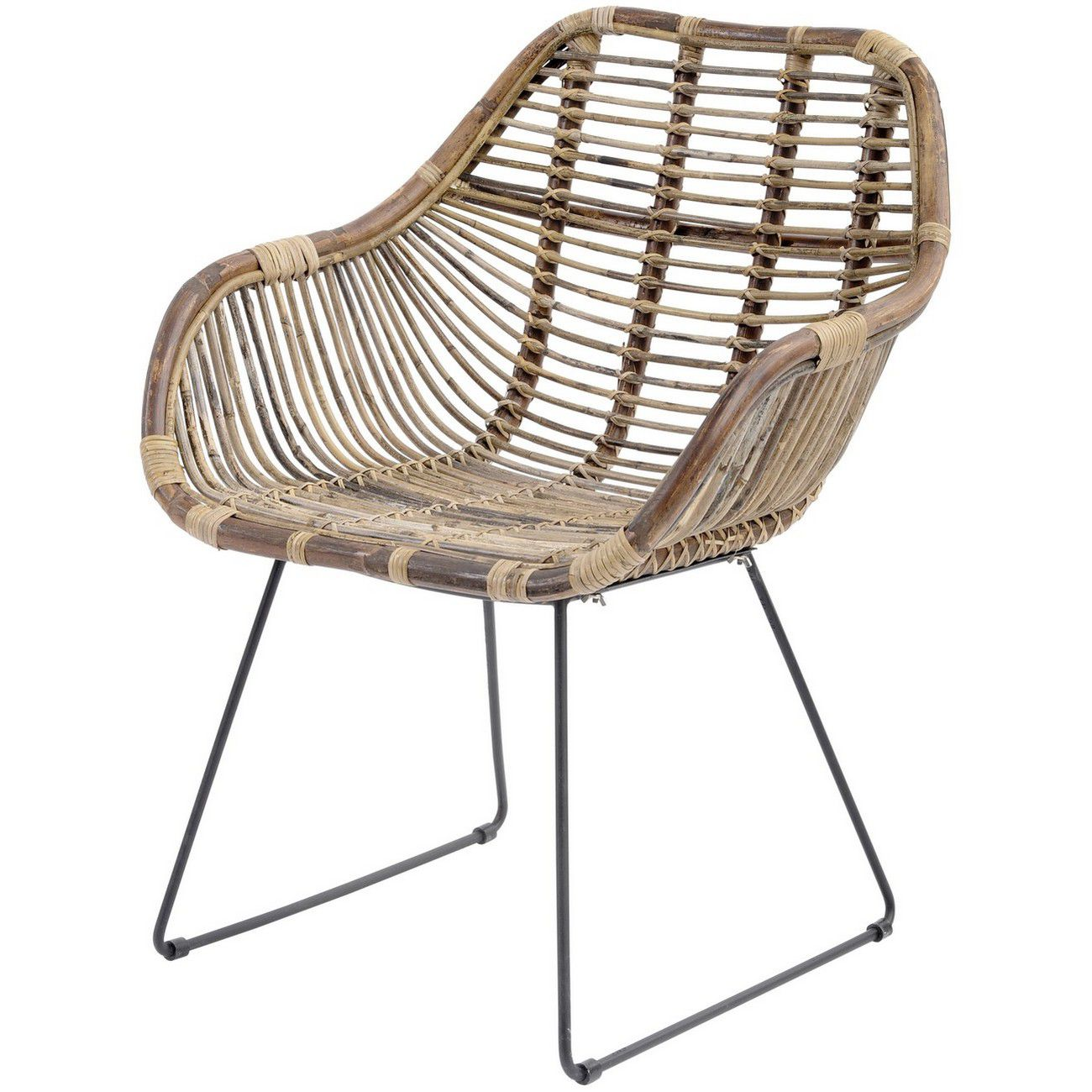 Toba Rattan Dining Chair With Arms thumbnail