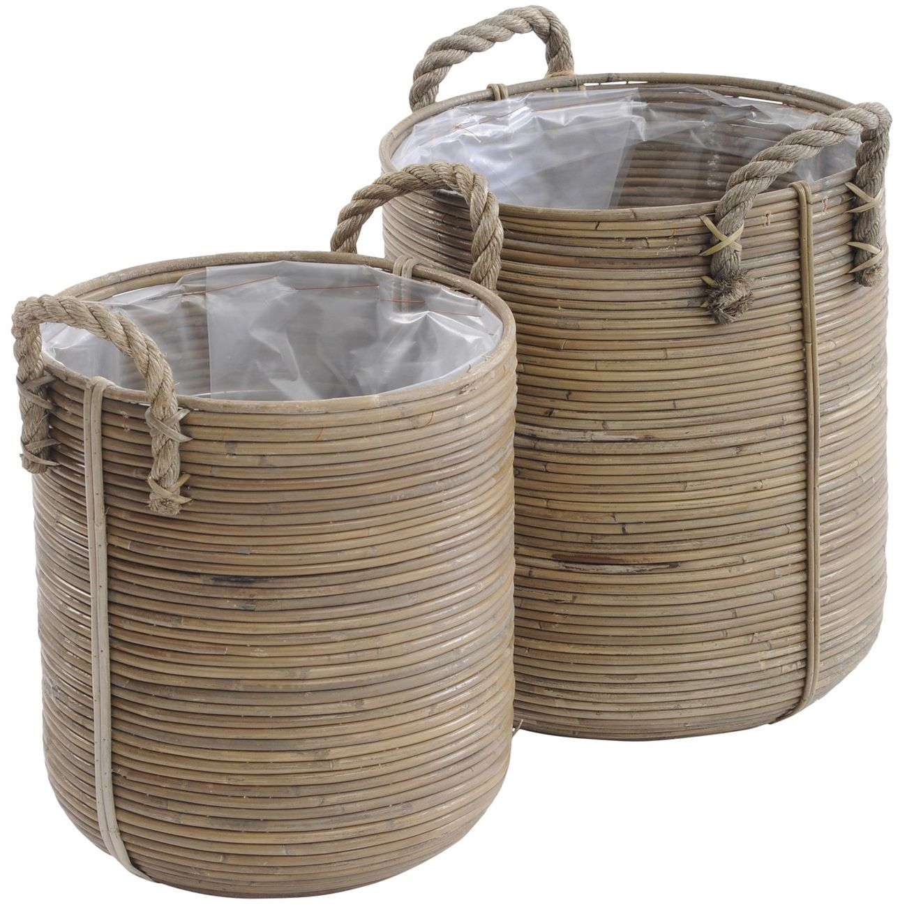 Toba Rattan Baskets with Handles (Set of Two) thumbnail