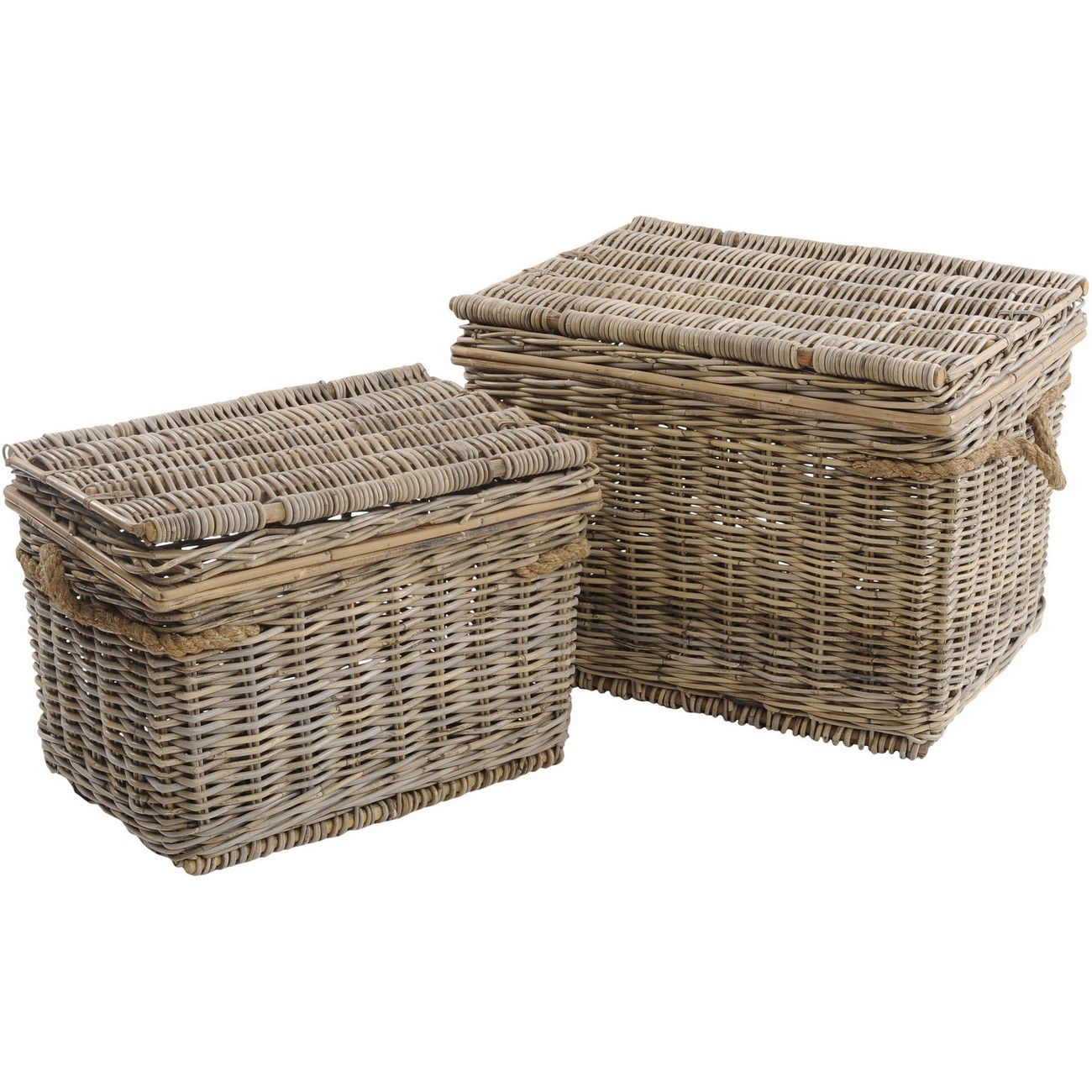 Toba Set Of Two Rattan Hampers With Rope Handles thumbnail