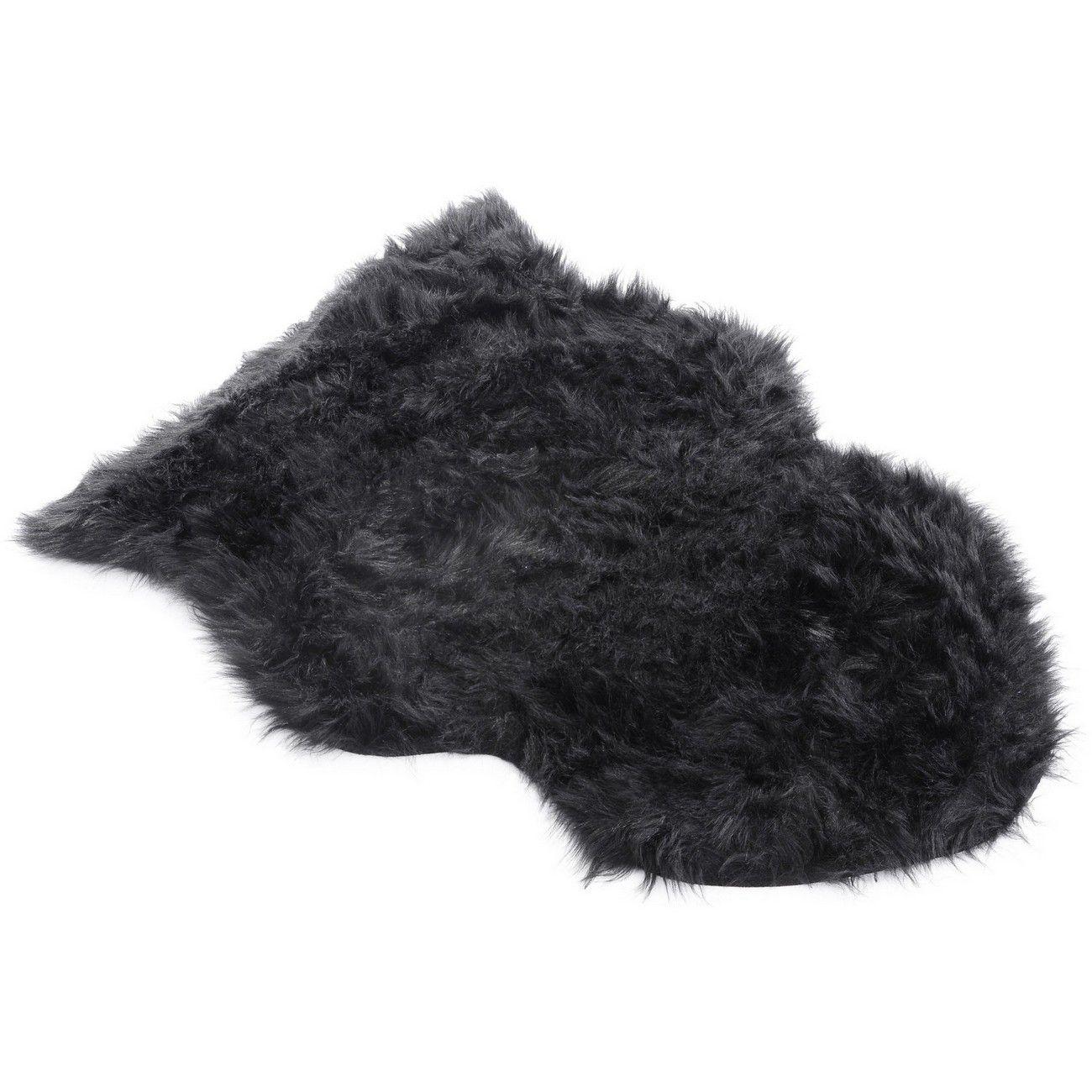 Faux Black Sheepskin Rug 60cmx90cm thumbnail