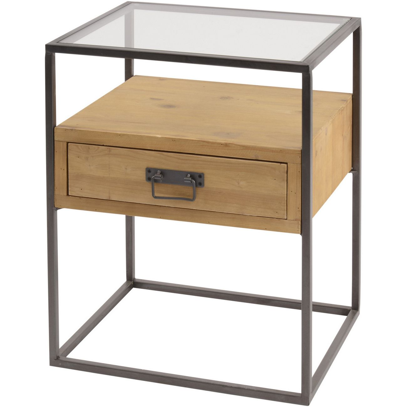 Kempsey Fir Wood And Iron Bedside Cabinet thumbnail
