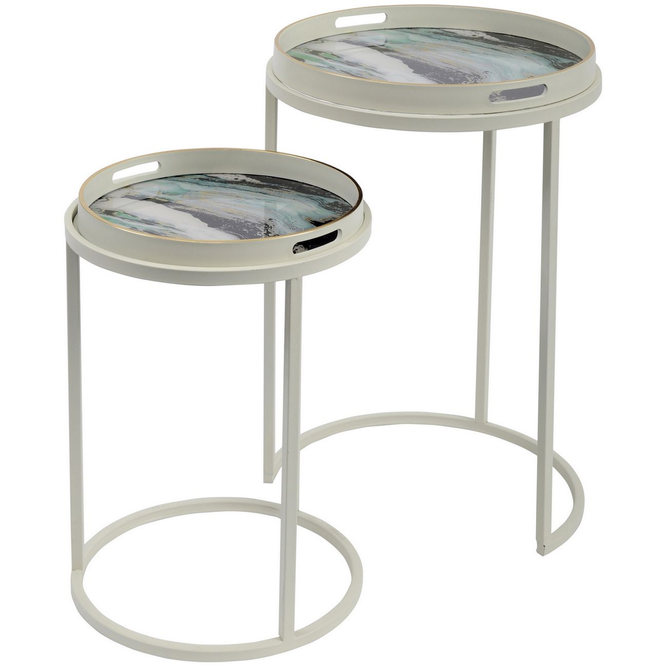 Marino Set Of 2 Green Marble Effect Tables thumbnail