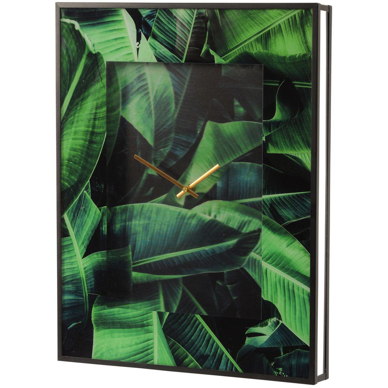 Green Palm Print Wall Clock thumbnail