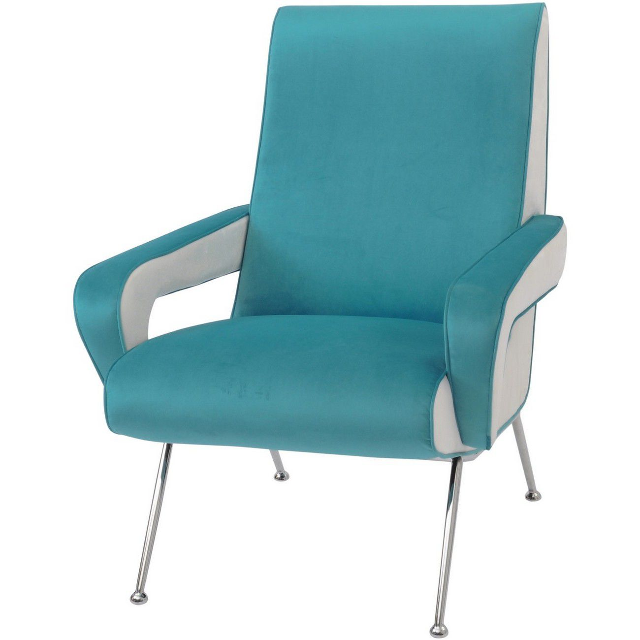 Waterley Blue And White Velvet Occasional Chair thumbnail