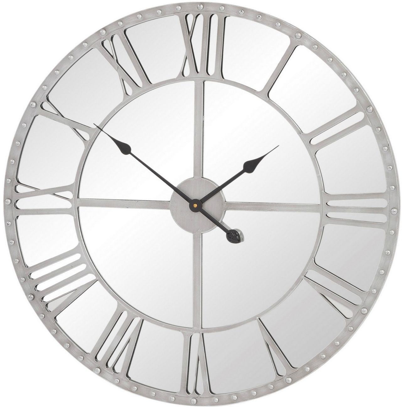 Grey Frame Studded Round Mirrored Wall Clock thumbnail