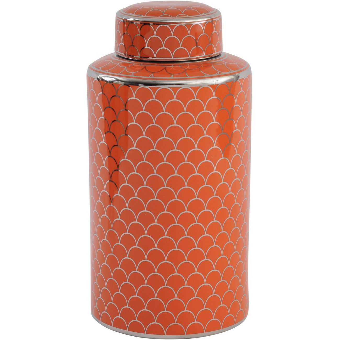 Orange Ceramic Lidded Jar With Silver Detail thumbnail
