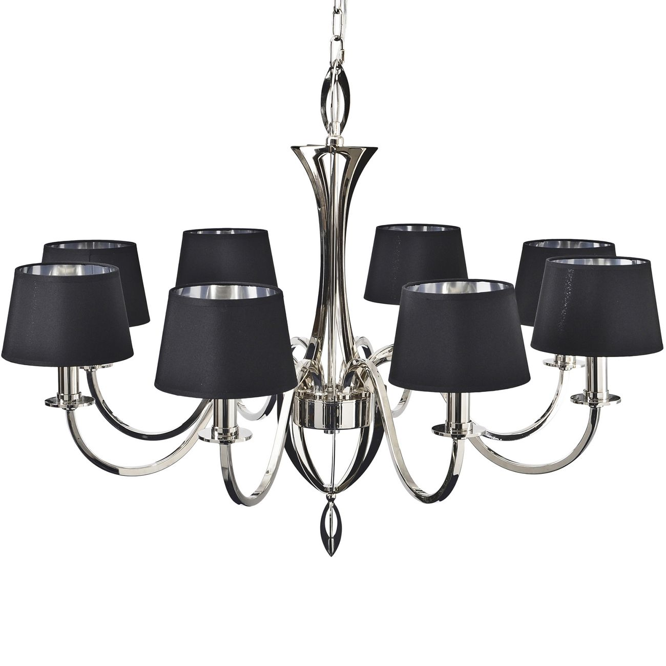 Aperfield Nickel Chandelier with Black Shades E14 40W 8 thumbnail