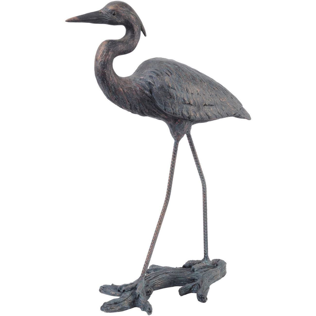 Verdigris Finish Arched Heron Resin Sculpture thumbnail