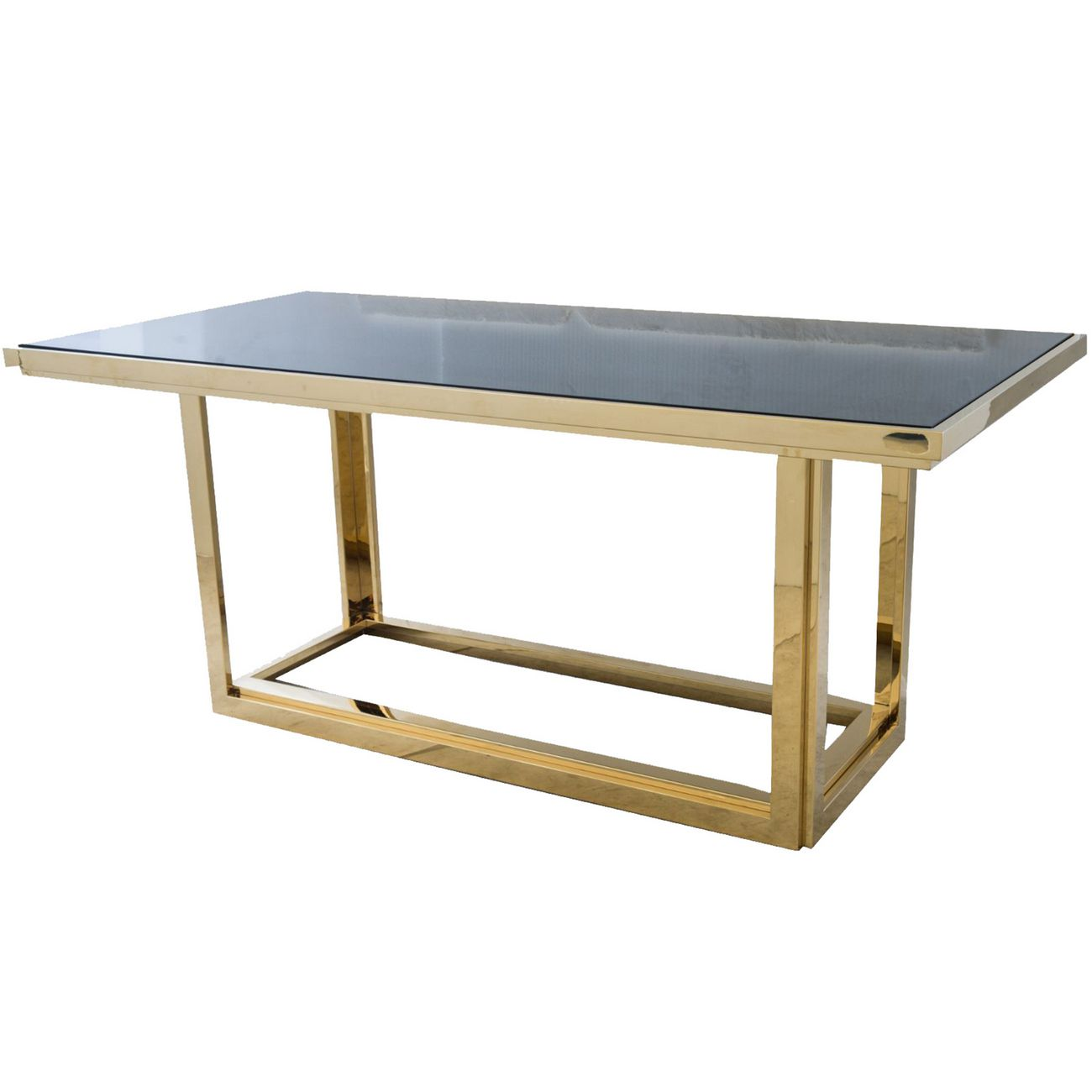Gatsby Rectangular Gold Dining Table With Smoked Glass thumbnail
