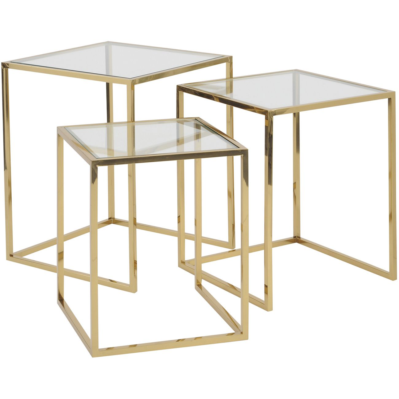 Linton Gold Stainless Steel And Glass Set Of 3 Nesting Tables thumbnail