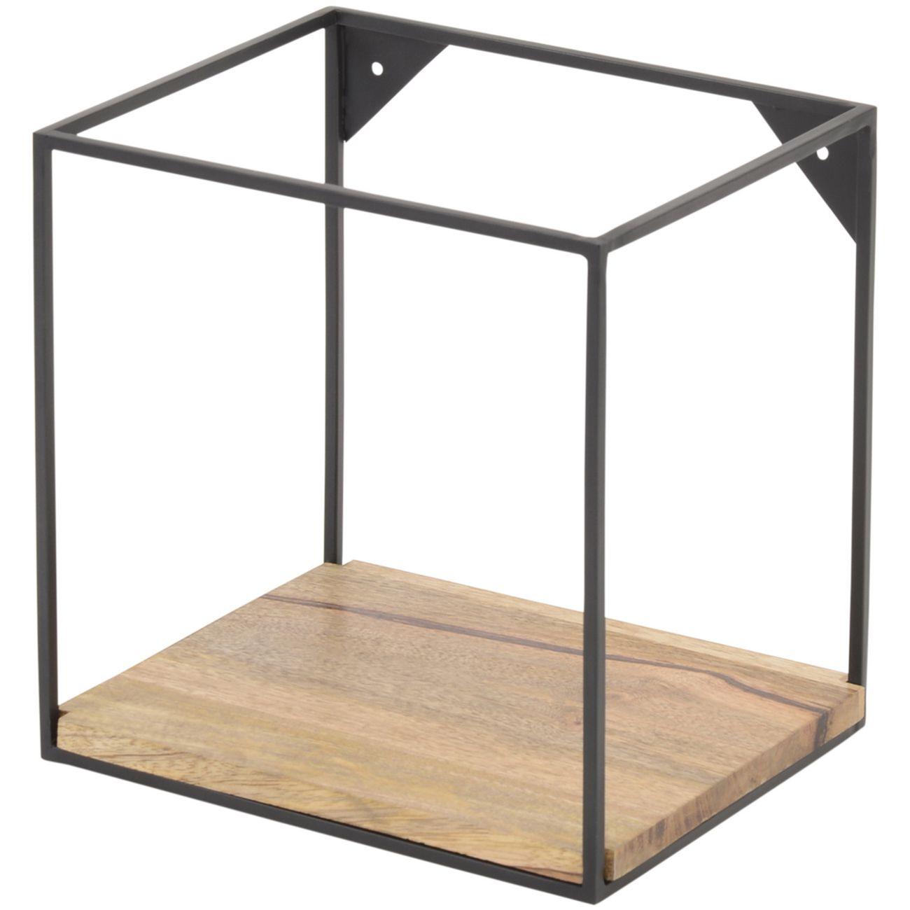 Kempsey Wood And Iron Small Single Shelf Wall Unit thumbnail