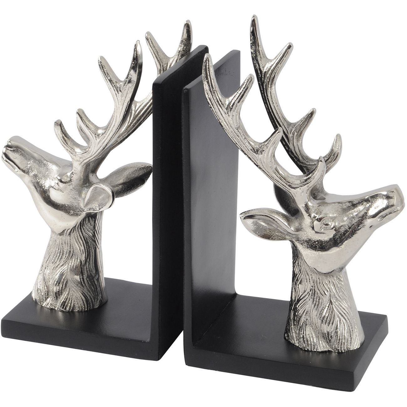 Antler Nickel Aluminium Stag Bookends thumbnail