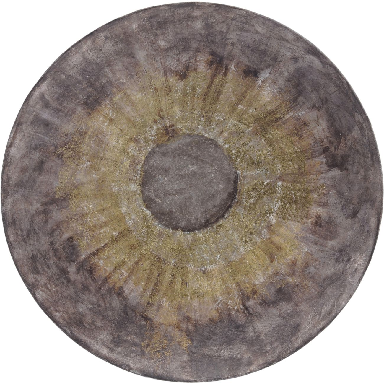 Grey and Gold Abstract Iron Wall Disc, Large thumbnail