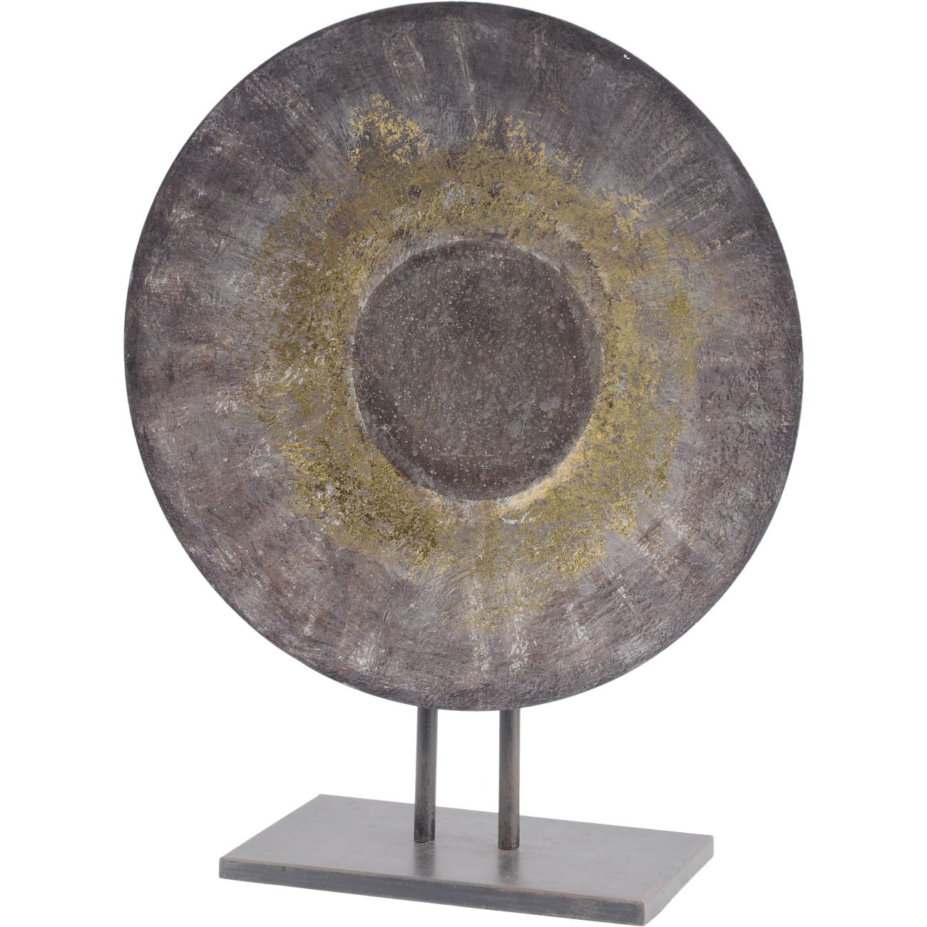 Grey and Gold Abstract Iron Sculpture on Stand thumbnail