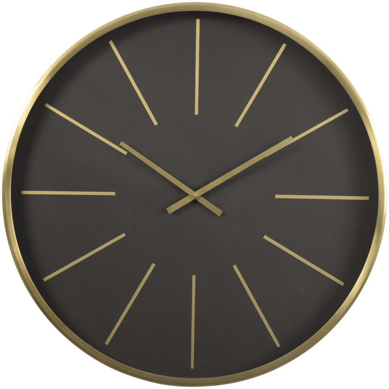 Black And Brass Numeral Steel Wall Clock thumbnail