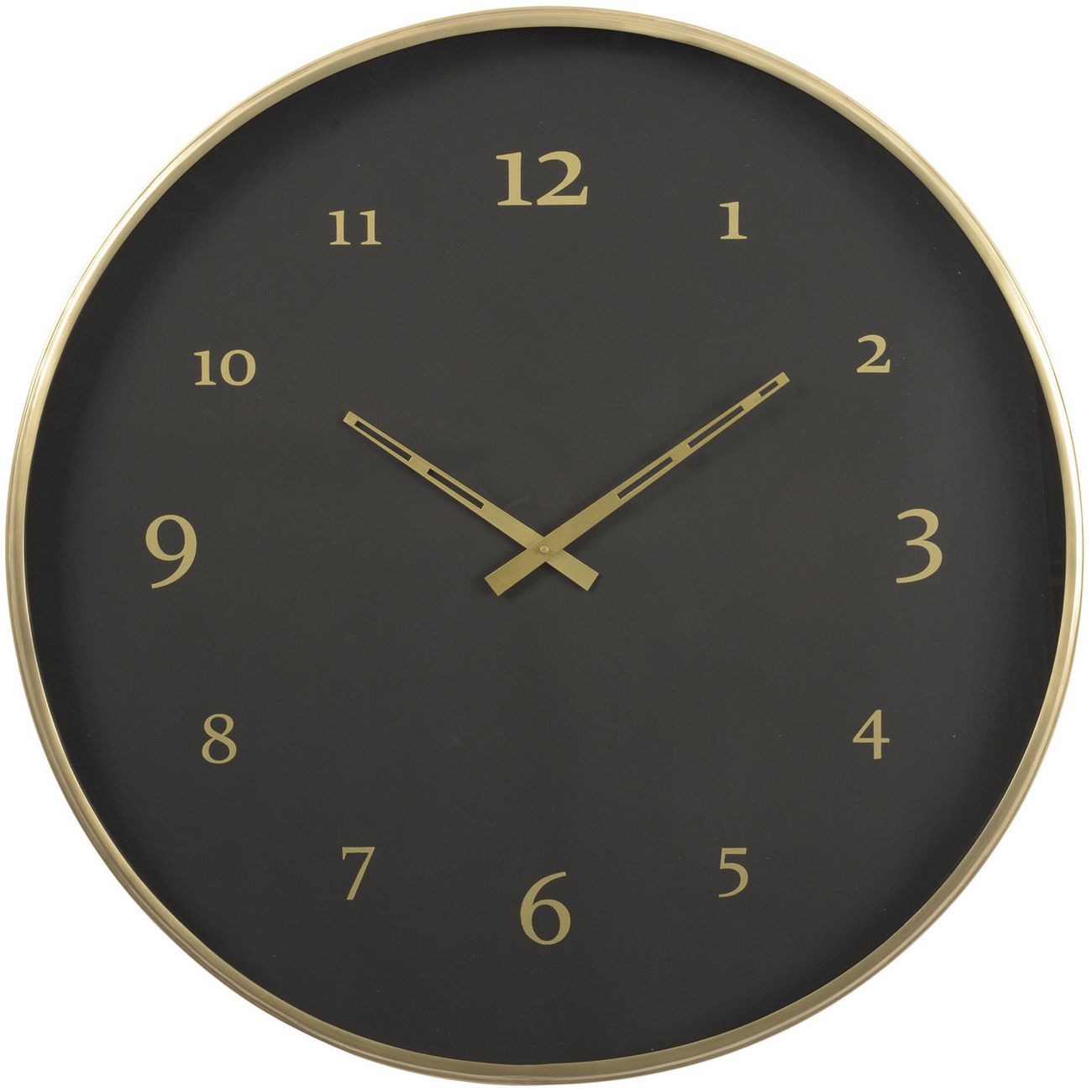 Black And Brass Steel Wall Clock thumbnail