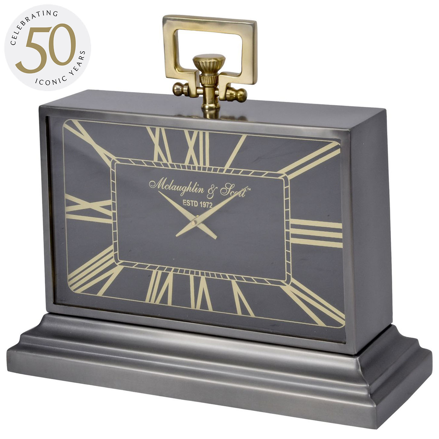 Latham Medium Black And Gold Aluminium Rectangular Clock thumbnail