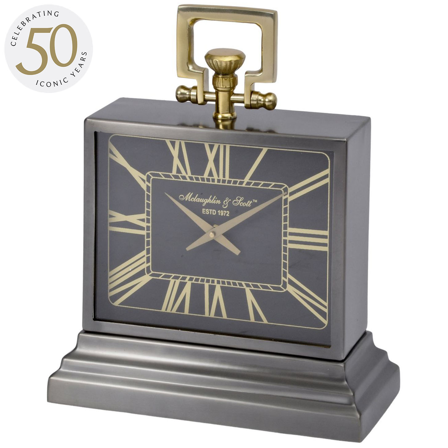 Latham Small Black And Gold Aluminium Rectangular Clock thumbnail